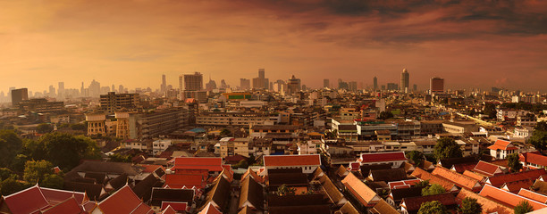 Beautiful panorama cityscape Bangkok skyline in sunset time,Thai