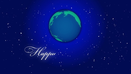 globe and happy new year animated text