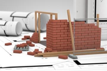 Baustelle auf Bauplan
