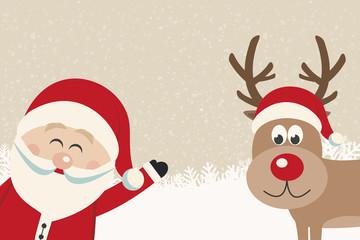 santa wave from side reindeer red nose winter background
