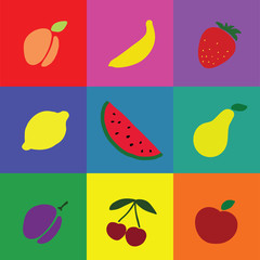 Vector icons collection of various fruits