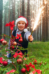 Santa and sparkler in the forest