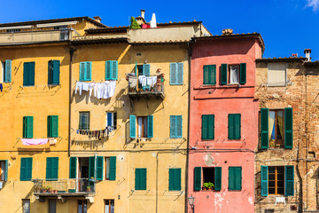 Detail of houses in Siena, Tuscany Italy