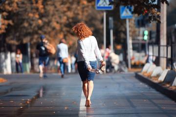city girl street rain sun