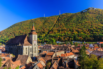 Brasov and the Black Church. Transylvania, Romania.