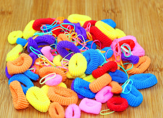 Many colorful hair bands
