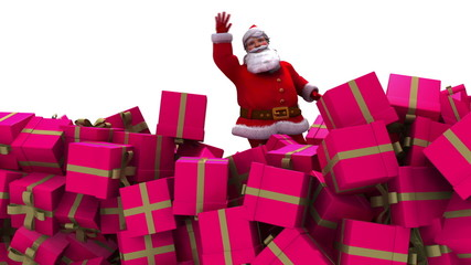 Santa falls into a pile of presents and waves