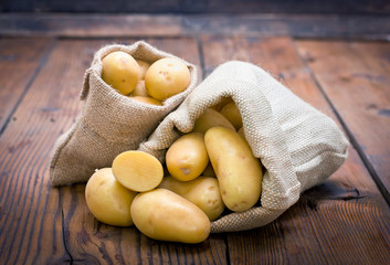 Organic potatoes in the burlap sack