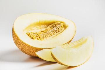 yellow melon on a white background