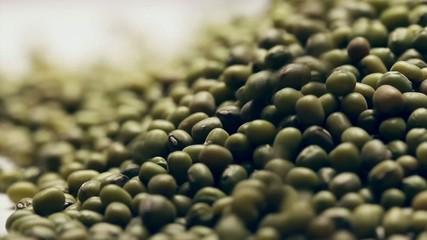 Heap of mung beans,rotating