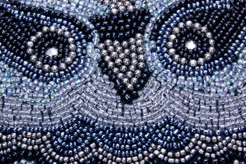 Face of Owl Embroided in Beads on Scatter Cushion