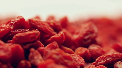 Heap of dried goji berries,rotating