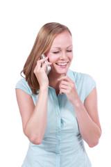 Junge Frau telefoniert isoliert