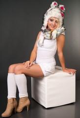 sexy Frau mit Wintermütze