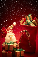 2015 New Year. Santa with fir and sack of presents