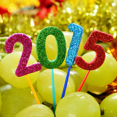 grapes and the number 2015, as the new year