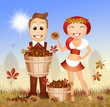 canvas print picture - people with chestnuts