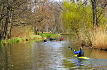 River canal in the Spreewald. Spree forest landscape. Germany