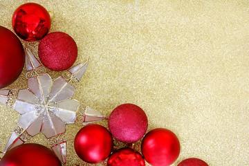 Christmas Bulbs and Star Tree Topper Framing Gold Glitter Backgr