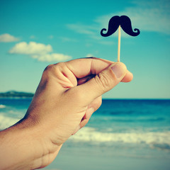 man hand with a fake moustache on the beach, with a filter effec