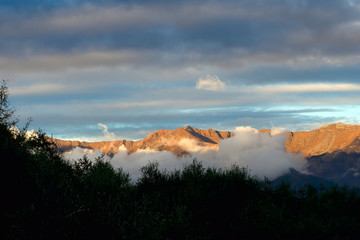 Winter sunset on the Appenine mountains, Italy. Lunigiana.
