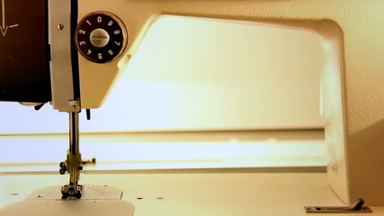 sewing machine in operation