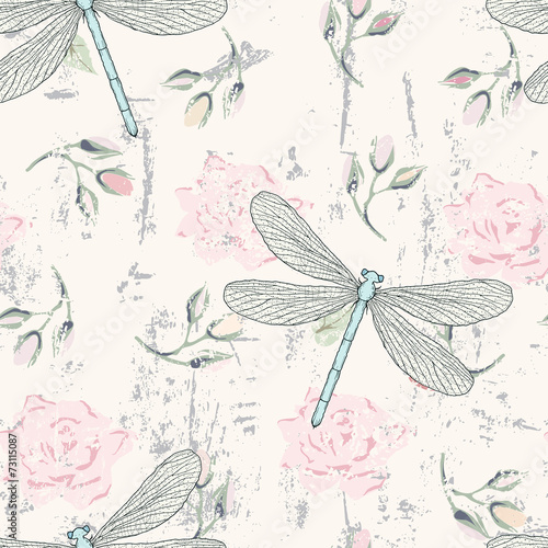grungy floral seamless pattern with dragonflies - 73115087