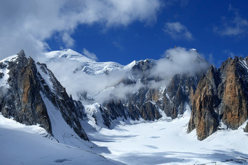 steep cliffs covered with snow in the Swiss Alps