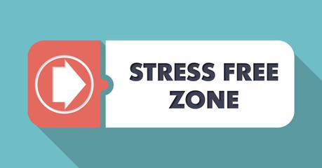 Stress Free Zone on Orange Background in Flat Design.