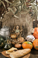 Christmas, Baby Jesus figurine in rustic kitchen