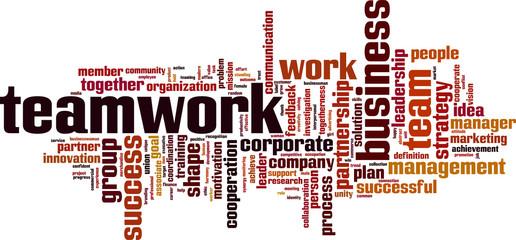 Teamwork word cloud concept. Vector illustration