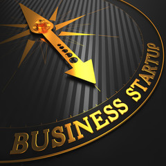 Business Startup - Golden Compass Needle.