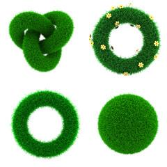 Decor Elements of Green Grass.