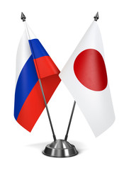 Japan and Russia - Miniature Flags.