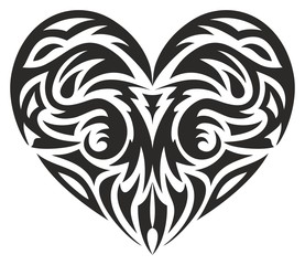 tribal heart, vector illustration