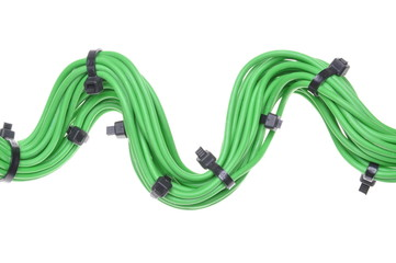 Bundle of green cables with black cable ties