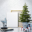 mock up poster with christmas decoration, background