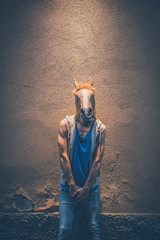 horse mask young hipster gay man