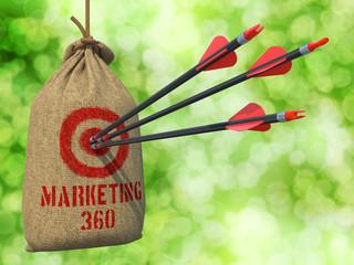 Marketing 360 - Arrows Hit in Red Target.