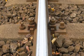 Rail and concrete sleepers close up