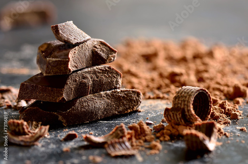 Foto Spatwand Eten Dark chocolate