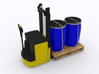 Hochhubwagen mit Kunststoffässern