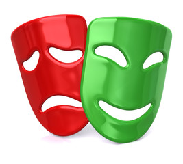Green happy and sad red masks