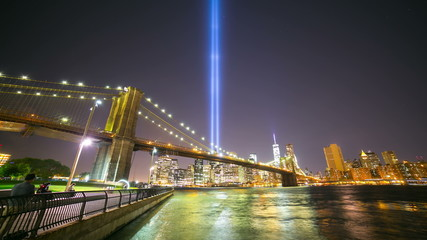 brooklyn bay towers of light 11 september 4k time lapse from nyc