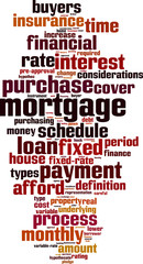 Mortgage word cloud concept. Vector illustration