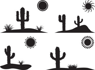 Simple desert landscapes illustrated on white