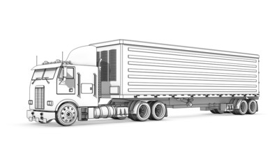 Drawing: black-and-white sketch of truck