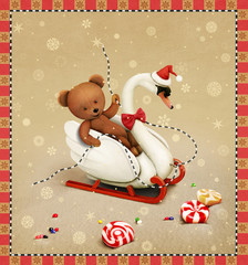 Greeting card  with  swan and Teddy bear