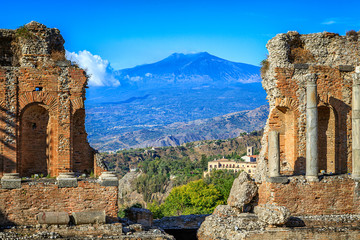 View of Mt Etna from Greek Theatre Ruins