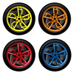 Car wheel, tire, rim